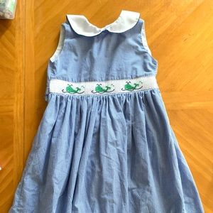 Blue & White Whale Smocked Dress